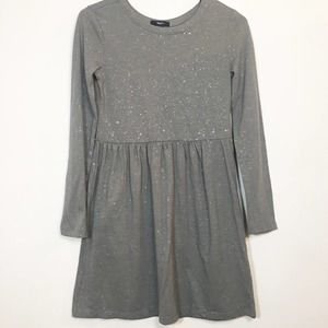 GAP KIDS GIRLS GREY SPARKLE DRESS SIZE XL